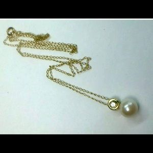 Natural pearl and diamond 10YG necklace pendant